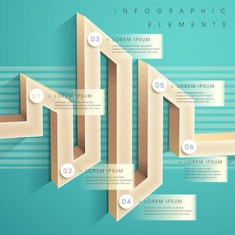 Éléments infographiques de graphique à barres 3d de style labyrinthe moderne