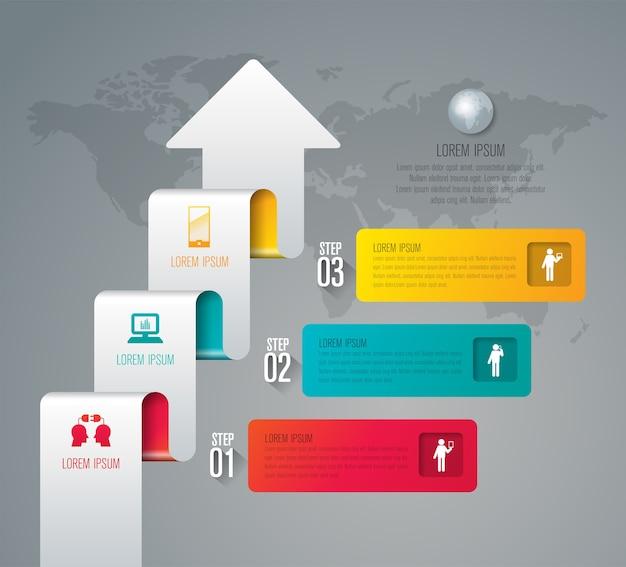 Éléments infographiques métier en 3 étapes pour la présentation
