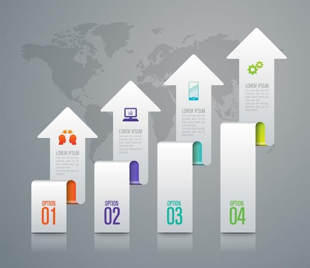Éléments infographiques métier en 4 étapes pour la présentation