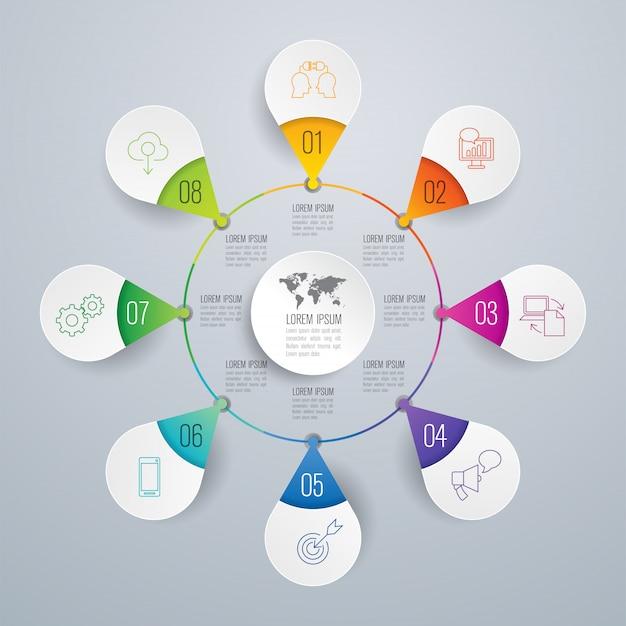 Éléments infographiques métier en 8 étapes pour la présentation