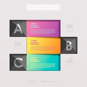 Éléments infographiques de modèle de bannières en papier de conception moderne