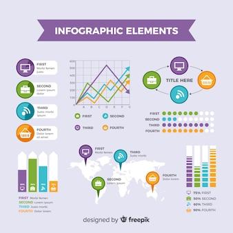 Éléments infographiques plats