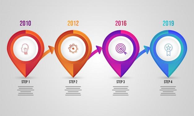 Éléments infographiques à quatre niveaux pour les entreprises ou les entreprises