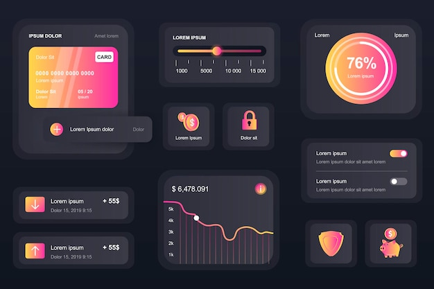 Éléments d'interface graphique pour l'application mobile bancaire