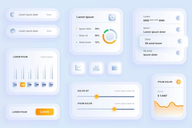 Éléments d'interface graphique pour l'application mobile finance