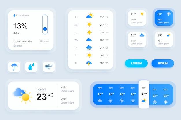 Éléments d'interface graphique pour l'interface utilisateur de l'application mobile de prévisions météorologiques, boîte à outils ux