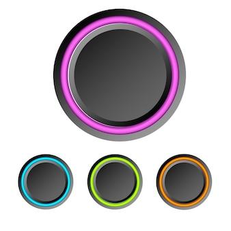 Éléments d'interface utilisateur abstraits sertis de boutons ronds vierges sombres et anneaux colorés isolés