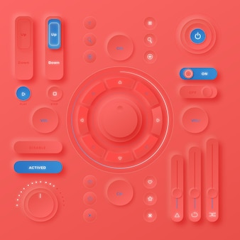 Éléments d'interface utilisateur de conception neumorphique réaliste