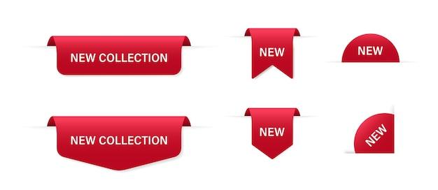 Éléments isolés de rubans rouges. promotion de la bannière. ruban rouge. badge offre spéciale.