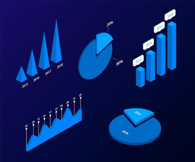 Éléments isométriques infographiques. modèles de graphiques et de diagrammes, statistiques et analyses de données d'information. modèle de présentation, conception de rapport, page de destination. illustration.