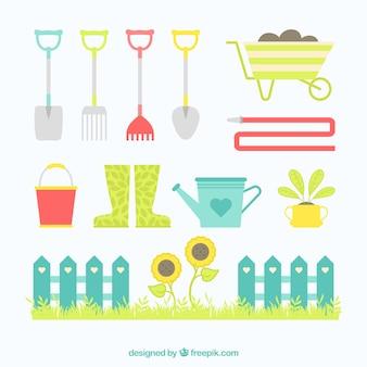 Éléments de jardinage mignon