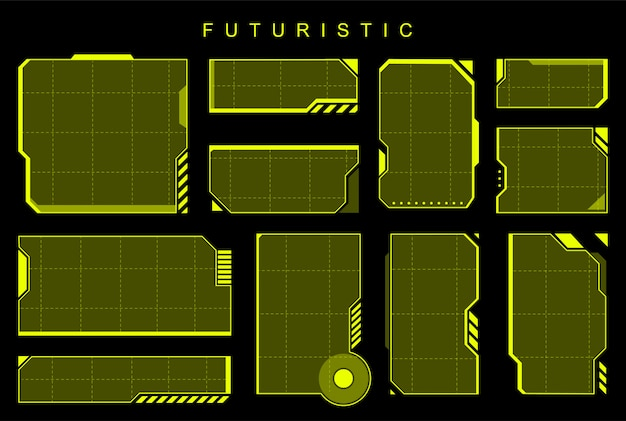 Éléments jaunes futuristes