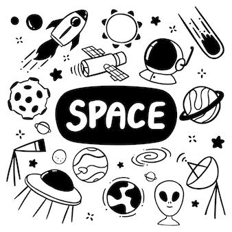 Éléments de jeu doodles espace