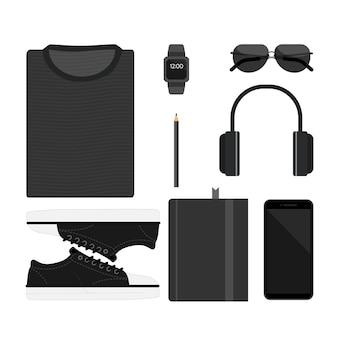 Éléments avec le jeu d'icônes de documents gadgets appareils mobiles