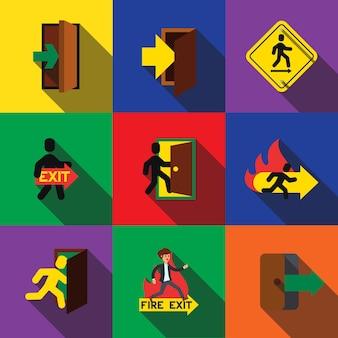 Les éléments de jeu d'icônes plates de signe de sortie, icônes modifiables, peuvent être utilisés dans le logo, l'interface utilisateur et la conception web