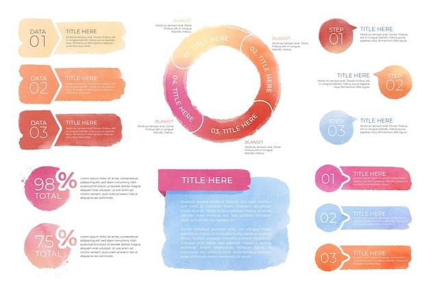 Éléments de jeu d'infographie aquarelle