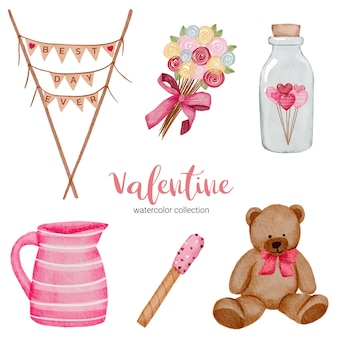 Éléments de jeu de la saint-valentin, teddy; pot, bouteille et plus encore.