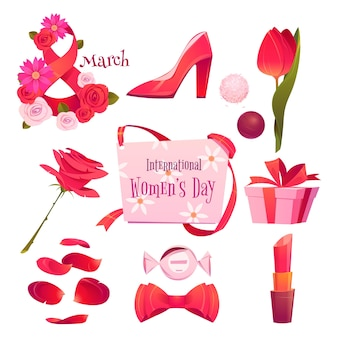 Éléments de la journée internationale des femmes plates