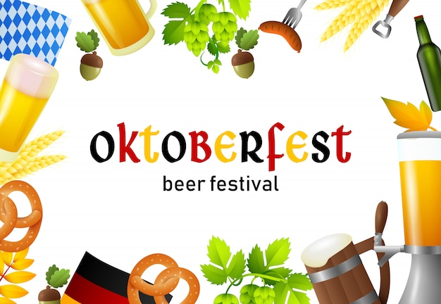 Éléments de lettrage et fest happy oktoberfest