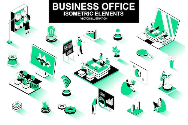 Éléments de ligne isométrique 3d de bureau d'affaires