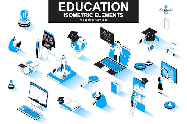 Éléments de ligne isométrique 3d de l'éducation