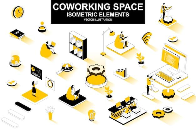 Éléments de ligne isométrique 3d de l'espace de coworking