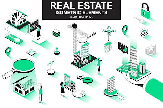 Éléments de ligne isométrique 3d immobilier