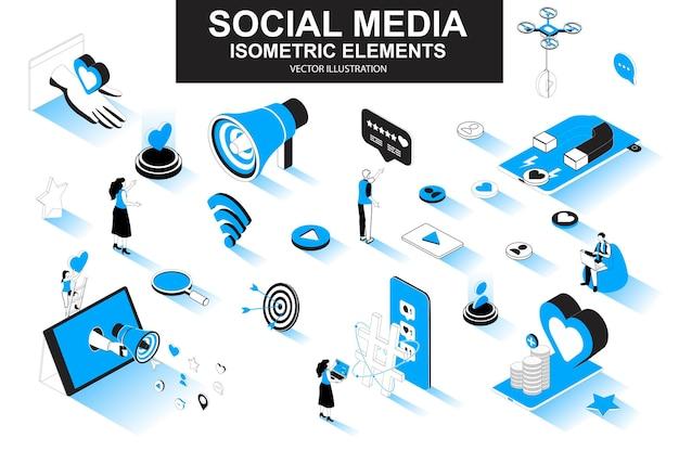 Éléments de ligne isométrique 3d de médias sociaux