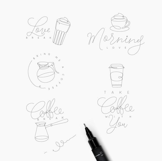 Éléments de ligne de stylo café