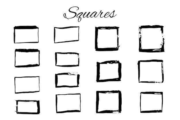 Éléments de logo dessinés à la main avec des carrés. concevez votre propre logo parfait. modèles de logotypes. création de logo isolée sur fond et facile à utiliser. illustration vectorielle