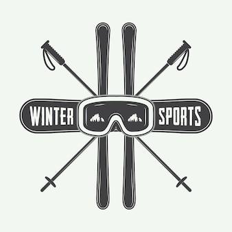 Éléments de logo, d'insigne, d'emblème et de conception de sports d'hiver vintage. illustration vectorielle