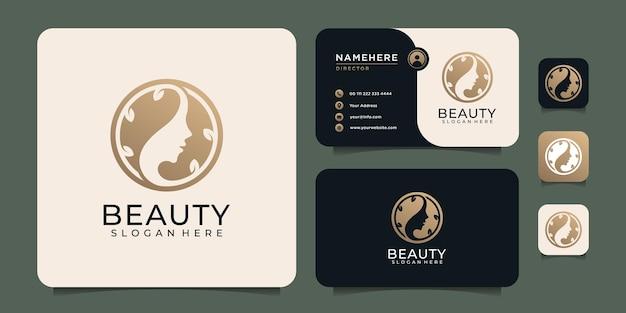 Éléments de logo de spa de cheveux de femme de luxe minimal de beauté pour la mode et le style de vie