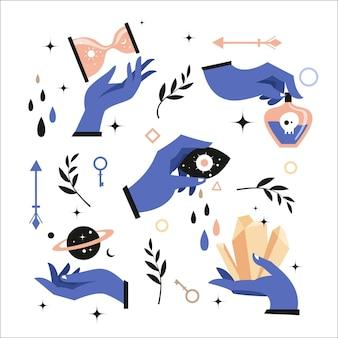 Éléments et mains ésotériques mystiques
