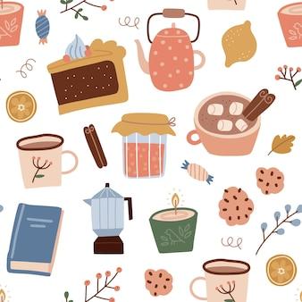 Éléments de maison confortable automne modèle sans fin texture sans fin tarte à la citrouille livre tasse de cacao bouilloire bougie ...