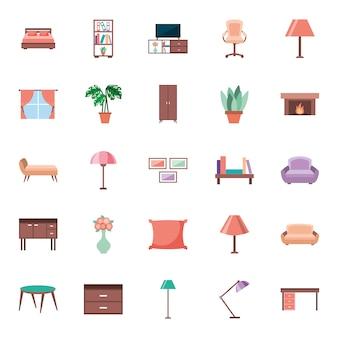Éléments de maison de meubles mis des icônes