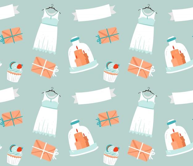 Éléments de mariage esquissés rustiques dessin animé dessinés à la main décoration de modèle sans couture sur fond bleu.