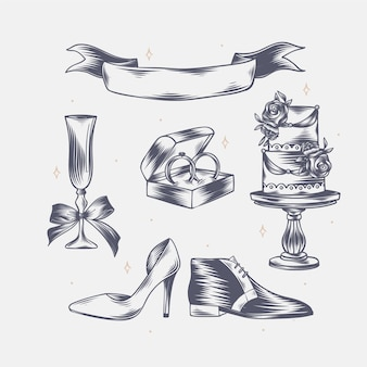 Éléments de mariage gravés linéaires dessinés à la main