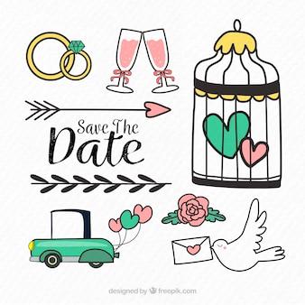 Éléments de mariage avec style amusant