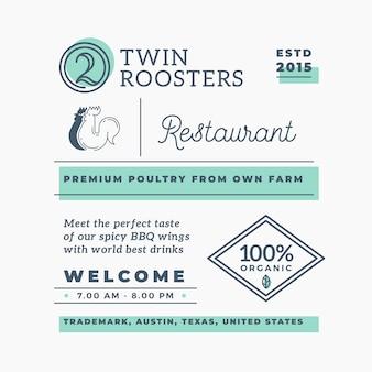 Éléments de marque de vecteur abstraite de restaurant de barbecue de coqs jumeaux.