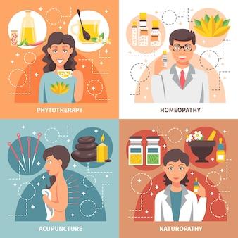 Éléments de médecine alternative et personnages design concept