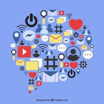 Éléments de médias sociaux dans une forme de nuage