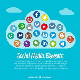 Éléments de médias sociaux dessinés à la main dans une forme de nuage
