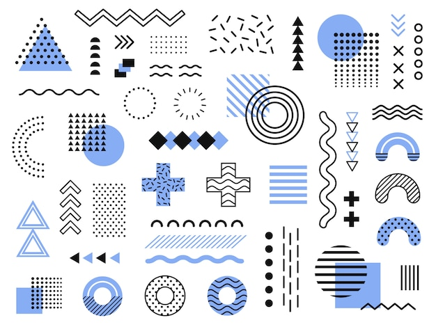 Éléments de memphis. graphique funky rétro, modèles de tendances des années 90 et collection d'éléments d'impression géométrique vintage