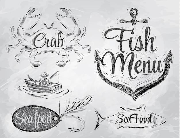 Éléments de menu de fruits de mer charbon