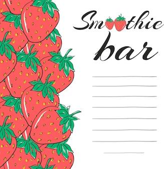 Éléments de menu de restaurant dessinés à la main. barre de smoothie avec fraise. boisson végétarienne saine.