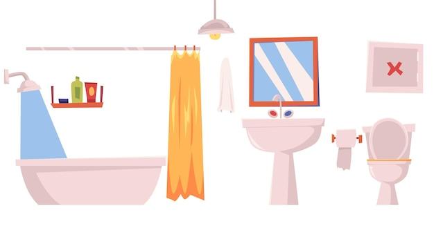 Éléments de meubles intérieurs de salle de bain fond illustration plat