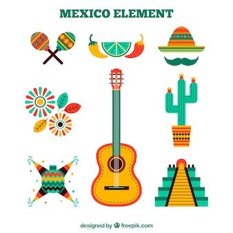 Éléments de mexique mis en design plat