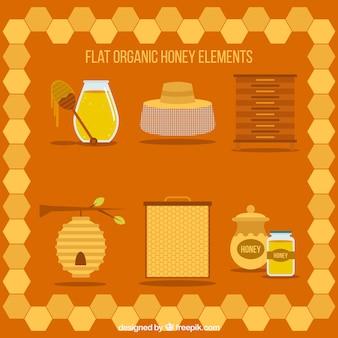 Éléments de miel plats