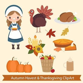 Éléments mignons clipart pour l'automne havest et thanksgiving