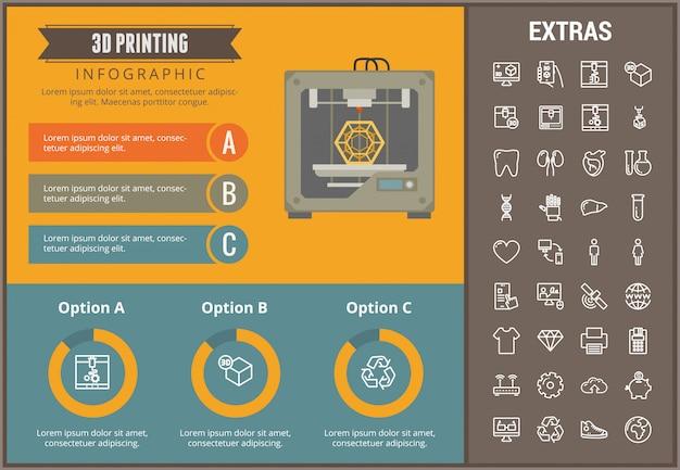 Éléments et modèle d'infographie 3d